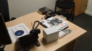 The office desk of the innovation director - complete with 1990s floppy discs