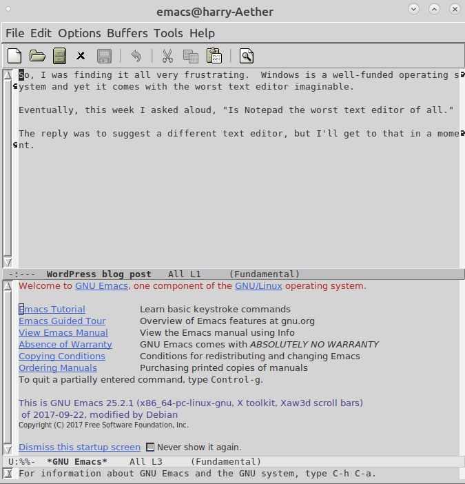 Editing my blog post using EMACS