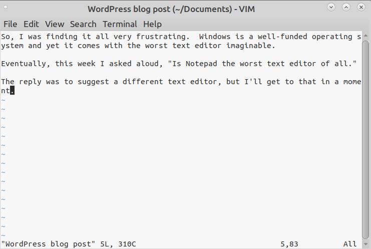 Editing my blog post using VIM