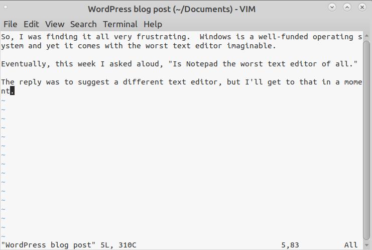 Editing my blog post using VIM